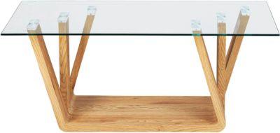 Inter Link Glas & Nachbildung Wildeiche Couchtisch 110x60 cm beige