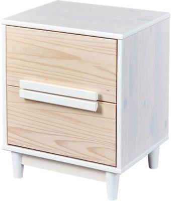Kiefer Massivholz Nachttisch mit 2 Schubladen weiß/beige