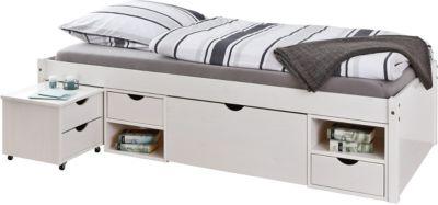 Funktionsbett mit Schubladen und Nachttisch 80x190 cm weiß Gr. 80 x 190