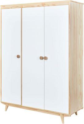 Kiefer Massivholz Kleiderschrank 3-türig weiß/beige