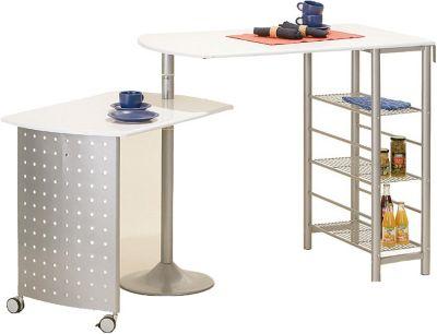 Küchenbar mit drehbaren Tisch weiß