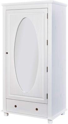 Kiefer Massivholz Kleiderschrank 1-türig mit Spiegel & Schublade weiß