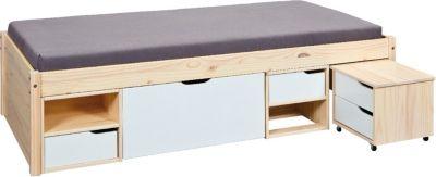 Inter Link Kiefer Massivholz Funktions-Bett mit Nachttisch 80x190cm weiß/beige