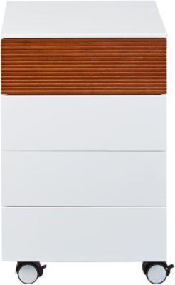 Rollcontainer Nachbildung Eiche & Weiß mit 3 Schubladen weiß