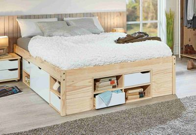 Kiefer Massivholz Funktions Bett Weißbeige Gr 180 X 200