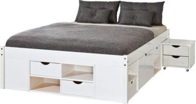 Kiefer Massivholz Funktionsbett mit Schubladen und Nachttisch weiß Gr. 160 x 190