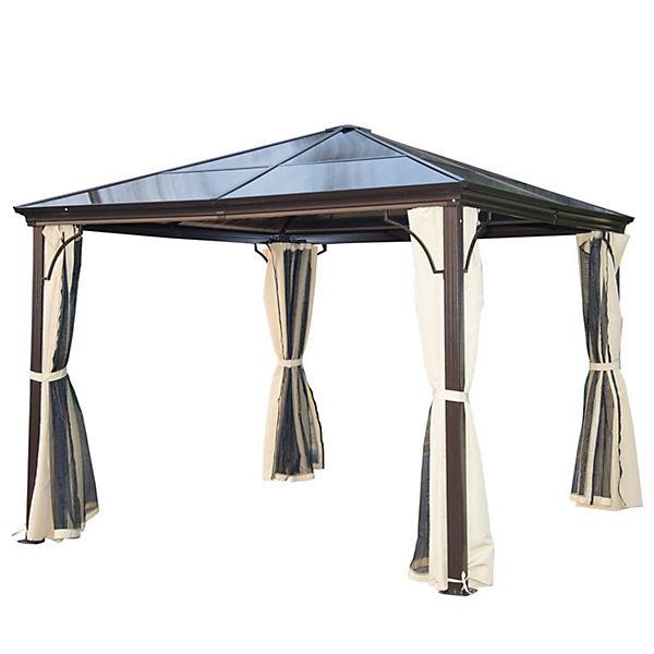 pavillon 3x3 m mit lichtdurchl ssigem dach braun outsunny yomonda