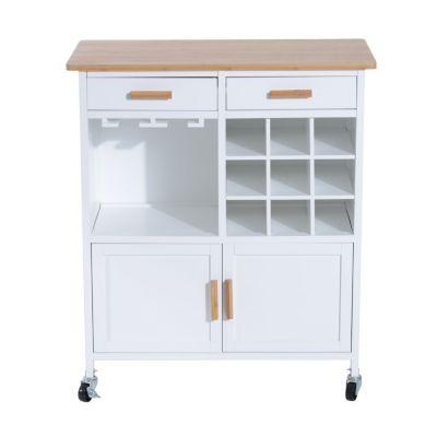 HOMCOM Küchenwagen mit Weinablage braun/weiß